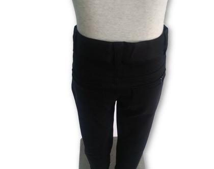 מכנס כותנה כיס עגול צבע שחור