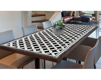 מפת שולחן פי.וי.סי | מפת שולחן מעוצבת | מפת שולחן מבודדת חום | מפת שולחן בהתאמה אישית |מפת שולחן שחור לבן