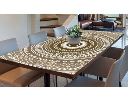 מפת שולחן פי.וי.סי | מפת שולחן מעוצבת | מפת שולחן מבודדת חום | מפת שולחן מנדלה | מנדלה בצבע חום