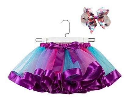 חצאית טוטו TUTU   מתאימה לתחפושת חד קרן סוכריה ילדת פרחים טווס   סגול ורוד  אביזרים לתחפושות   יום הולדת   פורים   unicorn   מלאכותי