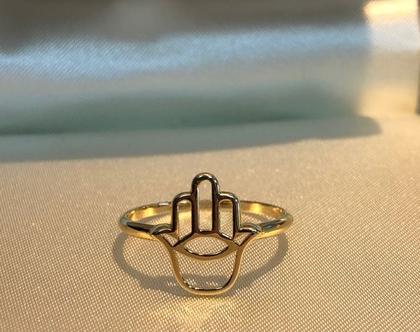 טבעת חמסה זהב 14 קרט
