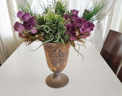 גביע זהב, כד מתכת , כד לפרחים, עיצוב לשולחן, כד, אגרטל מתכת, bd108