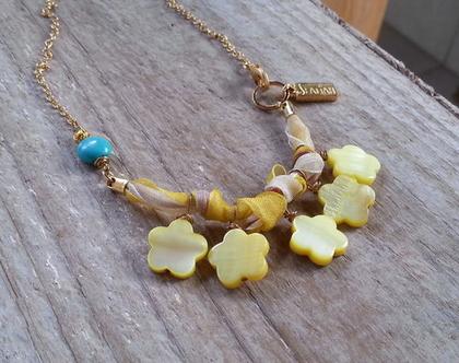 שרשרת זהב קצרה מיוחדת // שרשרת צהובה // שרשרת עם 5 תלתנים //