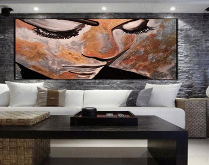 """""""לורן"""" - ציור מיוחד בעבודת יד של פני אישה בגווני ברונזה מתכתיים"""