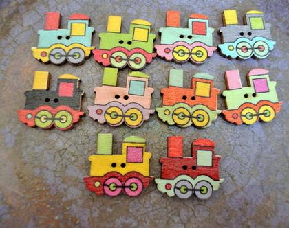 """60 כפתורי עץ בצורת קרון רכבת ב10 צבעים שונים גודל 25X22 מ""""מ, 6 כפתורים מכל צבע"""