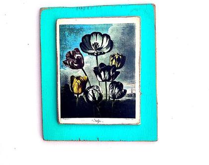 פרחים, גלויית וינטג' על עץ ממוחזר |חדר ילדים|מתנה|עיצוב|