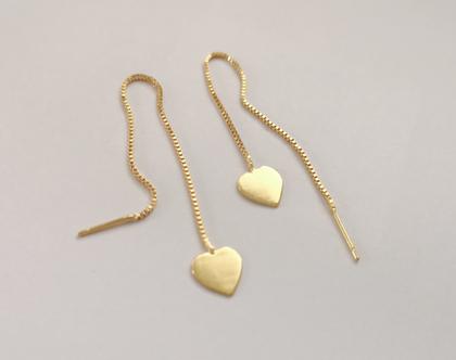 עגילי שרשרת, עגילי לבבות, עגילים ארוכים, עגילים נתלים, עגילי לב, עגיל שרשרת, מיקס אנד מאץ/