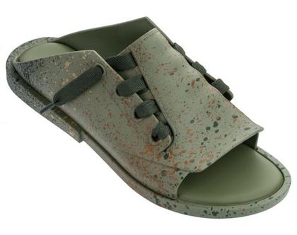 melissa - כפכף שרוכים בצבע ירוק עם נגיעות צבעוניות - נעלי מליסה דגם 32605 כפכפי מיול MELISSA ULITSA SPLASH AD