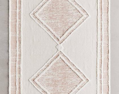 שטיח כותנה נורדי בהיר עם מעויינים ורודים