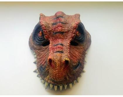 מסיכת דינוזאור אדום אביזרים משלימים לתחפושות