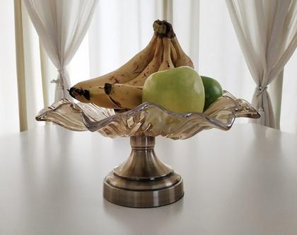 קערת זכוכית, עיצוב לבית, קערת פירות, עיצוב למטבח, עיצוב לסלון, קערת זכוכית דקורטיבית, קערת פרח zk007
