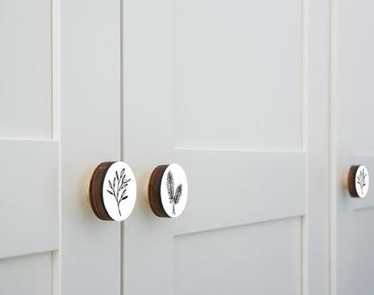 סט של ידיות 6-12 ידיות לבחירה מתוך הסט הבוטני בשחור לבן/ידיות לרהיטים/עיצוב הבית