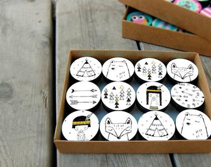 סט של 12-24 ידיות לחדר ילדים, עיצוב בשחור לבן, ידיות מעוצבות לשידת החתלה, חדר ילדים אינדיאני