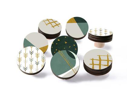 סט של 12-24 ידיות לרהיטים, עיצוב סקנדינבי, ידיות מעוצבות לשידה, ידיות עץ עגולות,ידיות לארונות, עיצוב הבית