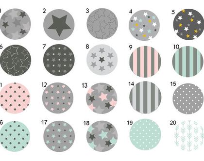 סט של 3-12 ידיות מעוצבות לבחירה, ידיות לעיצוב הבית ,עיצוב גאומטרי כוכבים פסים ונקודות