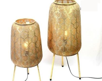 חסר - גוף תאורה בסגנון אוריינטלי הודי מתכת צבועה זהב   מנורת אוירה גדולה