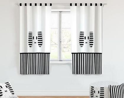 וילונות לחדרי ילדים ארנב שחור לבן/ וילונות מעוצבים/ וילונות לחדרי ילדים/ וילון לחדר ילדים