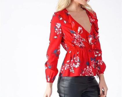 חולצה פרחונית בצבע אדום - תוצרת אנגליה