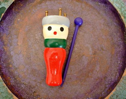 בובת עץ מכשיר סריגה לילדים, מיועד לסריגת חוטים עבים