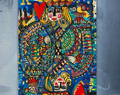 ציור צבעוני לבית של האמנית ענבר רייך , הדפס ייחודי בתוספת צבעי אקריל, אמנות ישראלית מקורית. תמונה לבית, שם העבודה : חושים 130/130סמ