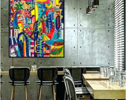ציור צבעוני לבית של האמנית ענבר רייך,הדפס משולב עבודת צבע, אומנות ישראלית מקורית. ציור צבעוני לבית, שם העבודה דרגון אוף לוב