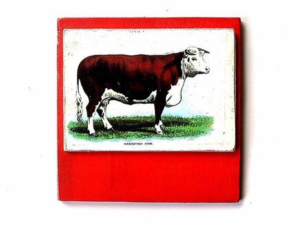 וינטאג', גלויה משנות ה 50 על עץ ממוחזר |תמונה לסלון|מתנה|עיצוב לבית|
