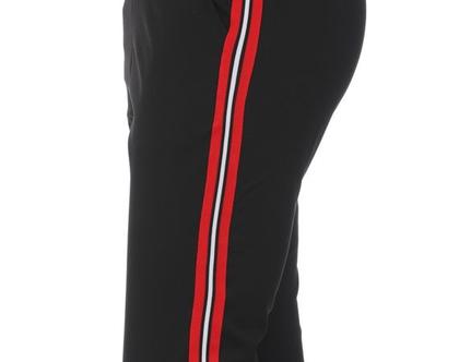 מכנס שחור גומי - פס אדום