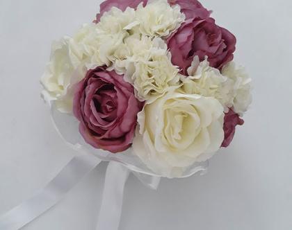 זר כלה ורד לבן מפרחי משי
