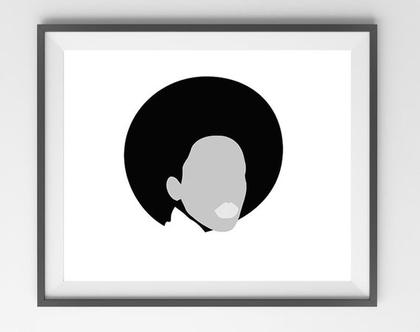 תמונה של אישה בשחור לבן, תמונה מיוחדת לתלייה ומיסגור, תמונה לסלון, תמונה למטבח, אישה עם כובע, תמונה מודרנית, תמונה בגווני אפור
