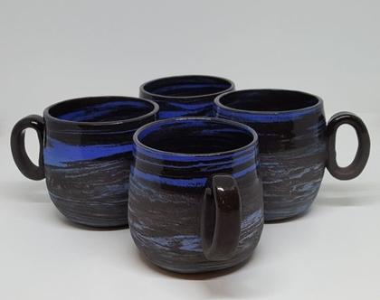 ספלים מקרמיקה, כוס קפה מקרמיקה, ספלים מקרמיקה, ספל קפה, שחור כחול, פורצלן כחול