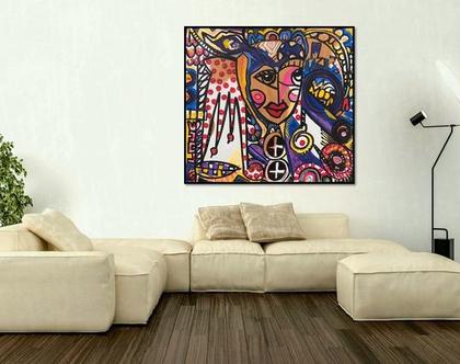 ציור ענק לסלון, אקריל על בד/ הדפס משודרג של הציירת ענבר רייך