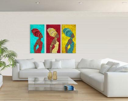 סט 3 תמונות קנבס בעיצוב מקורי - African Women Trio| תמונות מעוצבת לסלון | תמונות מעוצבות למשרד | תמונות של נשים אפריקאיות