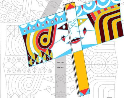 """ערכת יצירה לפורים - לכל המשפחה - דגל ושתי ואסתר - DIY - קובץ דיגיטלי להדפסת ערכת הכנה (גודל הדגל - 27X21 ס""""מ)"""