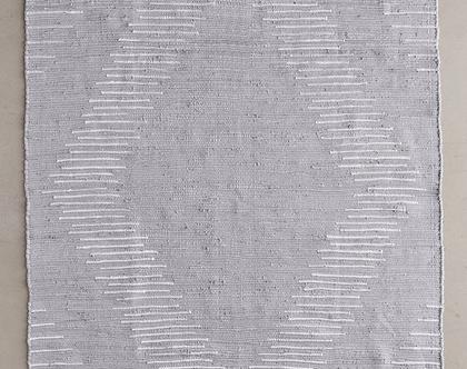 שטיח סקנדינבי אפור, שטיח כותנה אפור, שטיח גאומטרי אפור, שטיח נורדי אפור