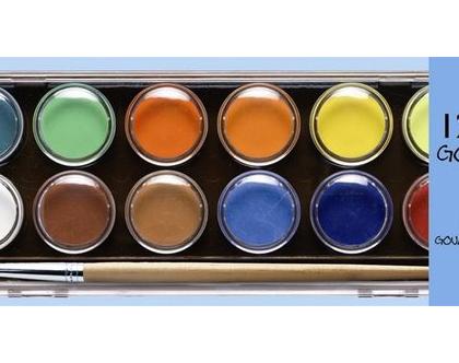 חסר - 12 צבעי מים ומכחול ליצירה מושלמת בצבעים הקלאסים ..