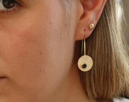 עגילי זהב עגולים משובצים אבן חן קטנה / E-244