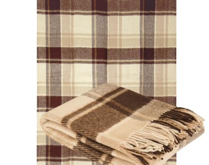 שמיכת צמר איכותית 170*200 שמיכת חורפית שמיכה בצבע חום שמיכה דו צדדית עיצוב סלון כירבולית מפנקת שמיכת צמר שמיכה לחורף