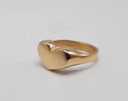 טבעת חותם לב זהב