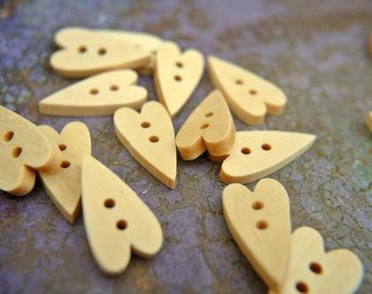 """20 כפתורי עץ בצורת לב בגודל 20X10 מ""""מ מיוחד לילדים"""