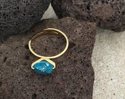 טבעת זהב stone כחולה, טבעת עדינה אבן כחולה, stainless steel, טבעת מעצבים ציפוי זהב, טבעת ניתנת להרחבה,Nickel free