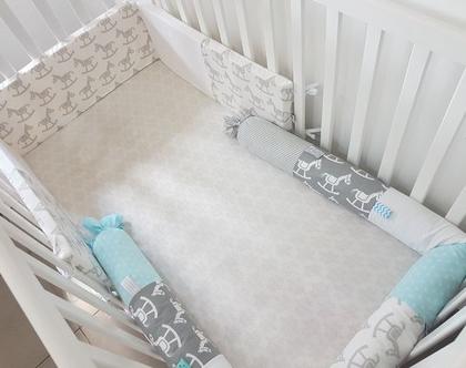 מגן ראש סוס נדנדה למיטת תינוק | מגן ראש מעוצב | מגן ראש לתינוק | מגן ראש , אפור, לבן, פיקה לבן | מארז לידה | מתנות לידה