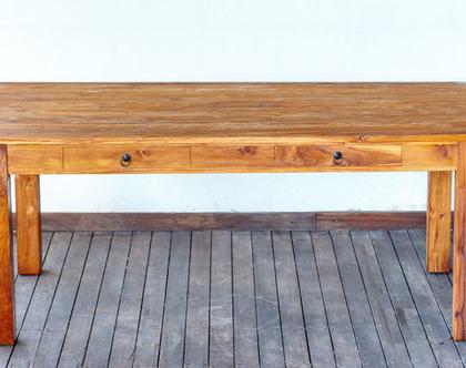שולחן אוכל עץ מלא. עם 2 מגירות.***משלוח חינם***