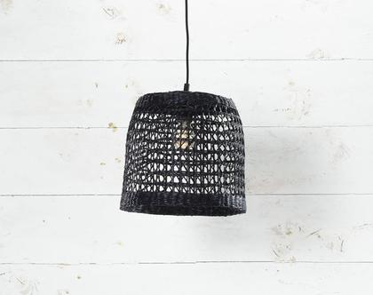 אהיל עשב ים בצבע שחור דוגמת חורים המוצר כולל אהיל בלבד