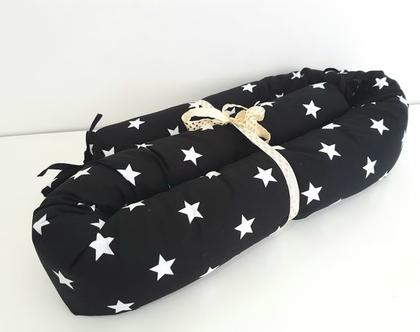 נחשוש | נחשוש כוכבים שחור לבן | כרית נחש שחור לבן | מגן ראש למיטת תינוק | מתנה ליולדת | עבודת יד