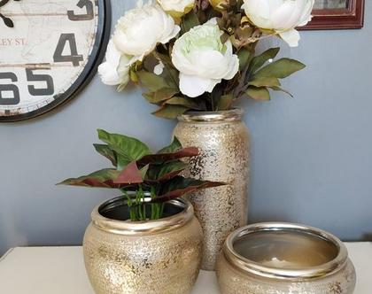 כד לפרחים, עיצוב לבית, מתנה לחג, כד חרסינה, עיצוב לשולחן, כערה, אגרטל חרסינה, שלישיית כדים כסופה