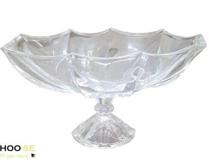ואזה זכוכית, ואזה אובלית, ואזה מעוצבת, אגרטל זכוכית, עיצוב לבית, עיצוב לשולחן, וואזת קערה אובלית BD1077