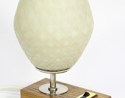 מנורת לילה וינטאג׳ מעץ אלון וזכוכית אננס