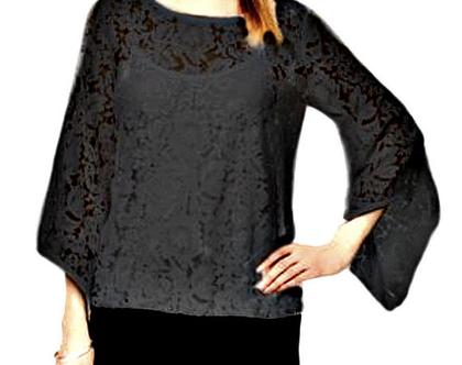 Alfani   חולצת תחרה שחורה אלפני