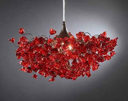 מנורת תקרה פרחים ורדים אדומה