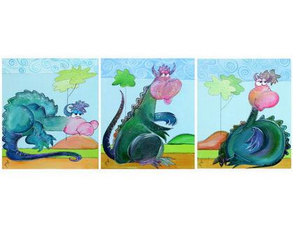 סדרת תמונות דינוזאורים ידידותיים | 3 ציורים לעיצוב החדר | עיצוב מקורי | דינוזאור